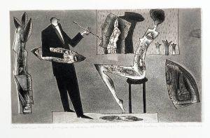 DMITRUK Jerzy Natchniona muza pozująca do obrazu abstrakcyjnego z cyklu Żywot malarza (2004-2007)