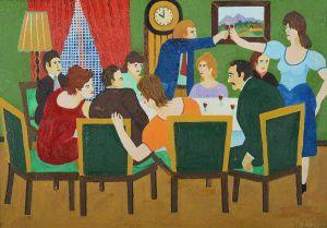 WRÓBEL Leopold Spotkanie przy stole (1982)