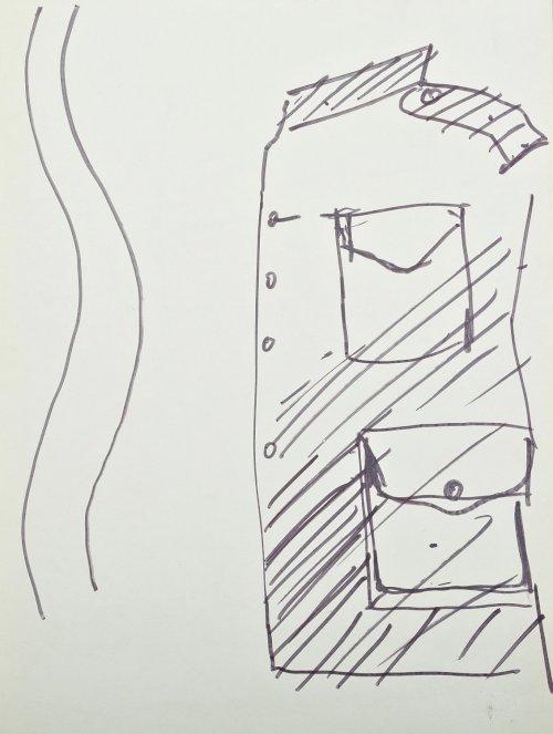 """KANTOR Tadeusz Projekt kostiumu (bluzy mundurowej) do spektaklu """"Wielopole"""" (ok. 1980)"""