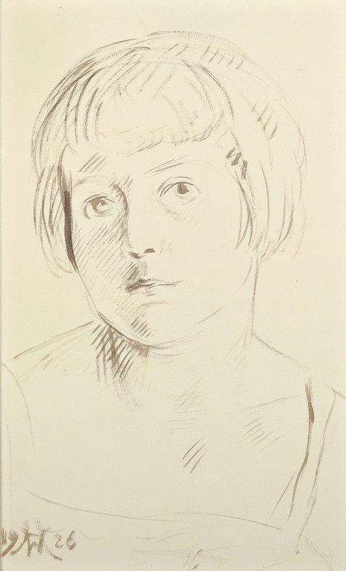HOFMAN Wlastimil Portret dziewczynki | Półakt kobiecy (rysunek dwustronny) (1926)