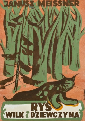 """BRZESKI Janusz Maria Projekt okładki """"Ryś, wilk i dziewczyna"""" Janusza Meissnera (1950)"""